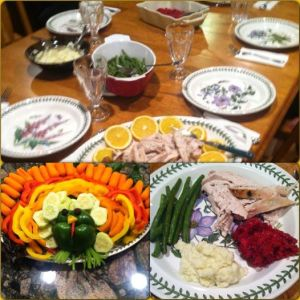 Green Beans 4 oz of Turkey 1/4 cup cauliflower mashed 1/4 Orange Cranberry sauce